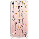 Pacyer Funda compatible con iPhone 7, Suave Carcasa compatible iPhone 8 Plus transparent Case Cover Silicona Funda compatible iPhone 7/8 Plus Diseño Rosa flower (8, iPhone 7)