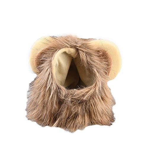 Delidraw Süß Haustier-Kostüm Rollenspiel Löwe Mähne Perücke Kappe für Katze Halloween Weihnachten Kleidung - Large
