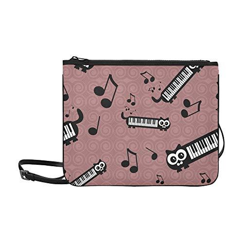 WYYWCY Nette lustige Katzen musikalische kundenspezifische hochwertige Nylon-dünne Handtasche Cross-Body Bag Umhängetasche (Musikalische Tastatur Tasche)