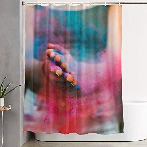 LVOE TTL Rideau de Douche avec Crochets Couleurs poudres Holi Portrait Blue Girl One Art Décoration de Salle de Bain 60 x 70 cm, White, Taille Unique