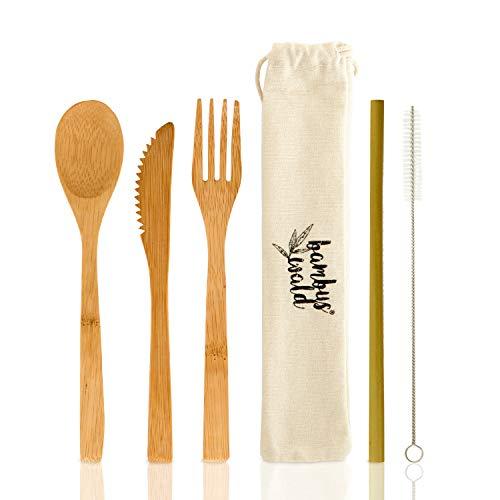 Bambuswald Besteck (Löffel, Gabel, Messer & Strohhalme) aus 100% Bambus - ökologisches - Grillbesteck Testsieger