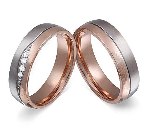 *Adomio -Ringe 2 Trauringe Verlobungsringe Edelstahl Rosegold vergoldet – 4 Zirkonia weiss gratis Wunschgravur E-FB-HD*