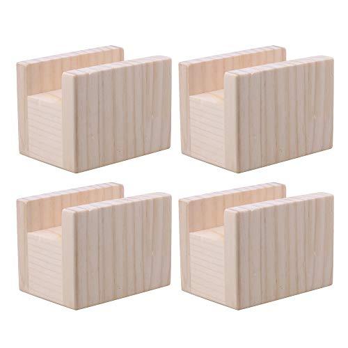 Yibuy 4 Stück 10 x 7 x 8,5 cm Holz Cube Möbel Storage Riser Bed Lifters Groove (Riser-holz Bed)