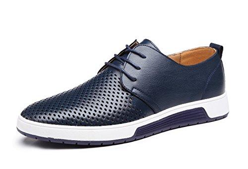 Zapatos de Cuero Hombre, Oxford con Cordones Brogue Vestir Derby Informal Negocios Boda Calzado Respirable Azul 44