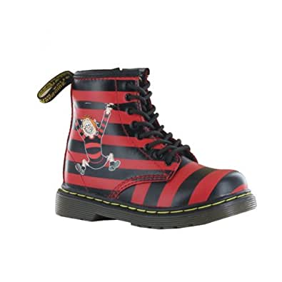 Dr.Martens Infant Brooklee Boots In Red+Black Minnie The Minx Stripes, Size 8 UK