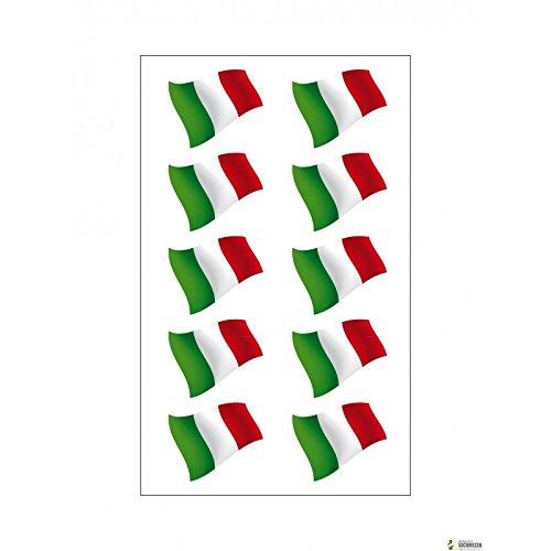 StickersLab–10autocollants en vinyle ultra résistant motif drapeau italien pour moto Vespa, voiture Fiat 500, casque - 3,5cm x 1cm