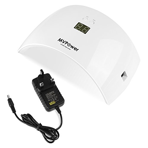 MVPOWER 36W UV Nageltrockner mit Timer, Nagellacktrockner mit 18 LED und IR Sensor, Nagellampe mit LCD Display für Shellack und Gelnagellack, Lichthärtegerät für Nägel, weiß Ir-led Wellenlänge