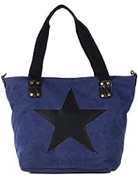 DonDon Canvas bolsa con estrella grande shopper bolsa de asa con bandolera y cremallera con look de vintage 43 x 30 x 17 cm
