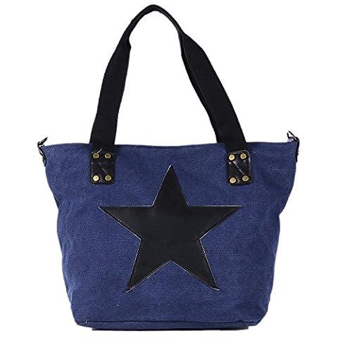 DonDon Canvas Tasche blau mit großem Stern Shopper Henkeltasche mit