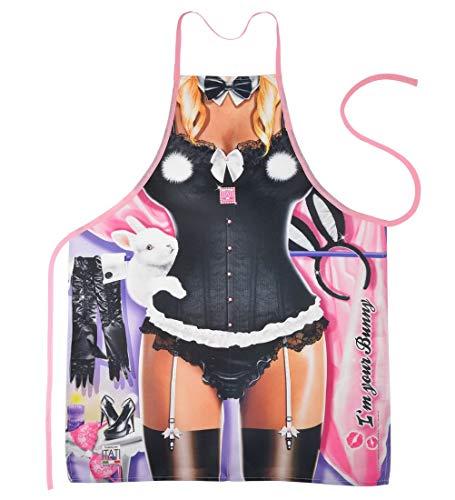 (Lustige Schürze Schurz - I'm your Bunny - für Karneval oder Fasching als Kostüm oder Geschenk - im Set mit Urkunde)