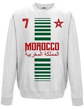Felpa Girocollo Uomo Nazionale Sportiva Marocco Maroc 7 Calcio Sport Africa Stella 2 M