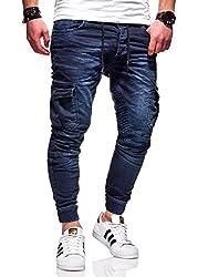 MT Styles Herren Biker Jogg-Jeans Hose RJ-3207 (Dunkelblau, W38/L32)
