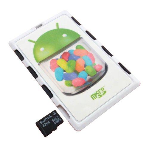 Dimecard memory card holder white android jelly bean edition (ultra sottile formato carta di credito holder, writable label)