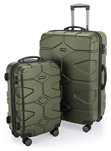 HAUPTSTADTKOFFER - X-Kölln - 2er Koffer-Set Trolley-Set Rollkoffer Reisekoffer, TSA, (S & L), Olivgrün matt