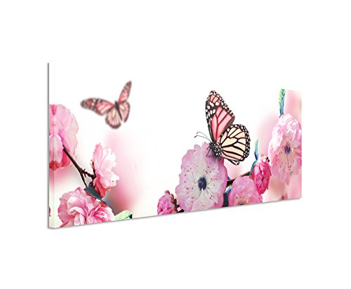 Bild 120x40cm traumhaftes Natur Bild – Schmetterlinge an rosa Kirschblüten