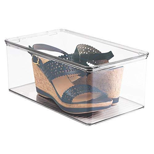 mDesign Contenitore Scarpe con Coperchio - scatole Trasparenti per Scarpe sovrapponibili - portascarpe