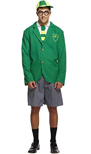 (Fancy Me Herren Erwachsene Schule Junge Geek Nerd Uniform Junggesellenabschied Kostüm Kleid Outfit - Grün, STD)