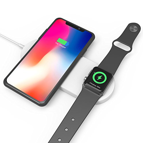 Wireless Schnell Ladegerät iPhone X, Apple Watch 2 in 1 Schnell Wireless Charging Pad, amavasion Qi Wireless Charging Stand für iWatch series2,3, Samsung Galaxy S7/8/8PLUS, Galaxy Note 8, iPhone X, iPhone 8/8PLUS. (Iphone-apple Watch)