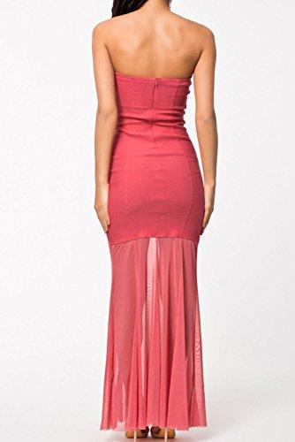 E-Girl femme Rouge SY6509 longue Robe Rouge