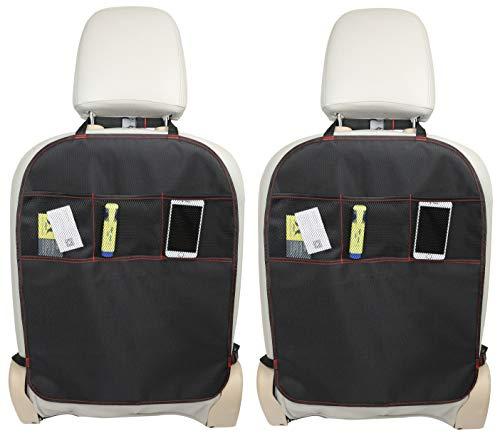 BabyMad Lot de 2 protections de dossier de siège de voiture, avec poches, taille universelle, robuste, résistant aux taches, qualité supérieure
