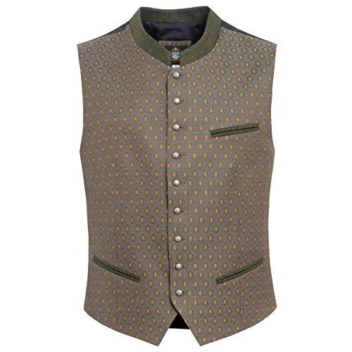Hammerschmid Herren Trachten-Mode Trachtenweste Adrian in Oliv traditionell, Größe:48, Farbe:Oliv