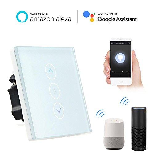 Smart Lichtschalter Dimmer, Teepao Wand Touch Control WiFi Dimmer Lichtschalter Funktioniert mit Amazon Alexa / Google Home / APP Fernbedienung, Unterstützung IOS Android - Neutralleitung Erforderlich - Installieren Dimmer Lichtschalter