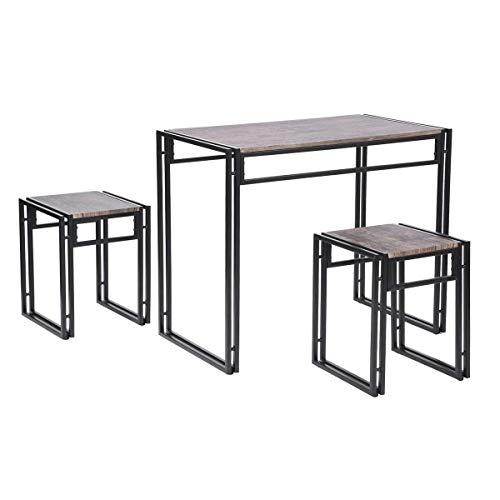 Furnish 1 Moderno Juego de Mesa de Comedor, Mesa de Comedor con 2 sillas, Mesa de Comedor para Cocina Nogal