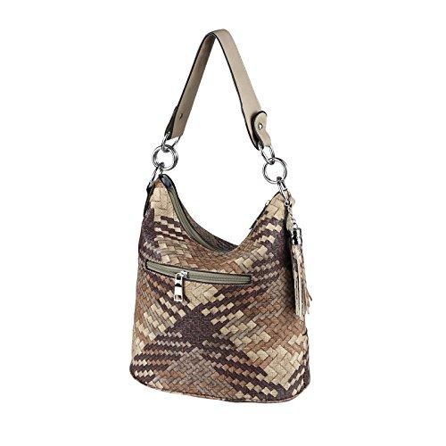 OBC DAMEN TASCHE HOBO-BAG Metallic Shopper Umhängetasche Handtasche Schultertasche Henkeltasche Beuteltasche CrossOver Tote-Bag (Black 29x25x17) Braun