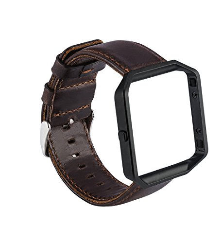 MroTech Lederarmband kompatibel für Fitbit Blaze + Metallrahmen, Echtleder Ersatzband mit Frame,Ersatzarmband Uhrenarmband Herren für Fitbit Blaze Watch (Retro Kaffee Lederband mit schwarzem Rahmen)