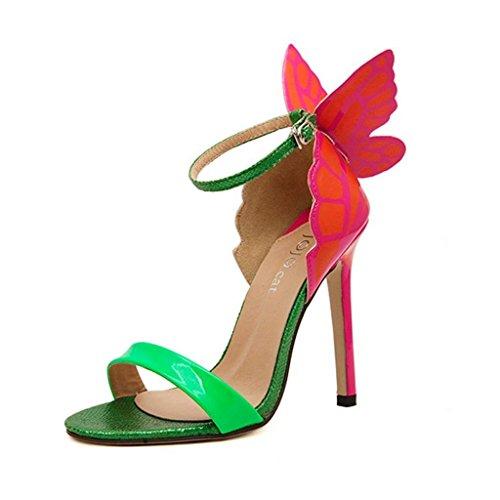 Minetom Donne Sandali con Tacco a Spillo Punta Aperta Fiocco Scarpe con la Farfalla alla Moda ( Verde EU 40 )