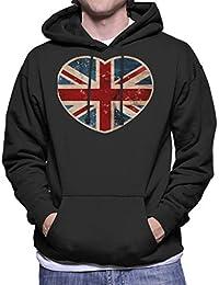 Cloud City 7 Union Jack Love Heart Mens Hooded Sweatshirt