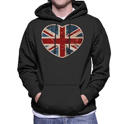 Cloud City 7 Union Jack Love Heart Men's Hooded Sweatshirt