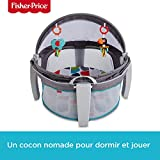 Fisher-Price Dôme-lit protection bébé portable 2-en-1 pour le jeu ou la sieste avec 2 jouets amovibles, dès la naissance, FWX16