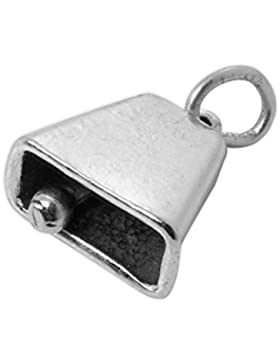 TheCharmWorks 925 Sterlingsilber 3D Kuhglocke Charm Anhänger