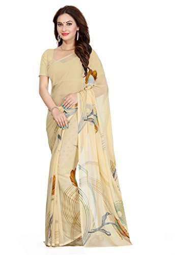 Ishin Faux Georgette Beige Printed Women's Saree  available at amazon for Rs.299