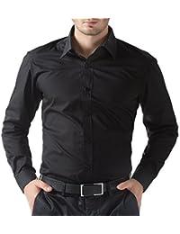 Being Fab Mens Cotton Casual Shirt (Bfblksht0342 _Black _42)