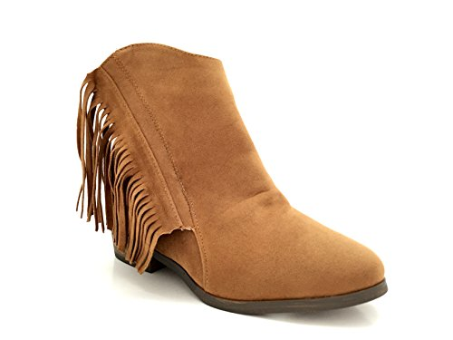 CHIC NANA . Chaussure femme bottine low boots compensée à frange style daim, double fermeture éclair. Camel