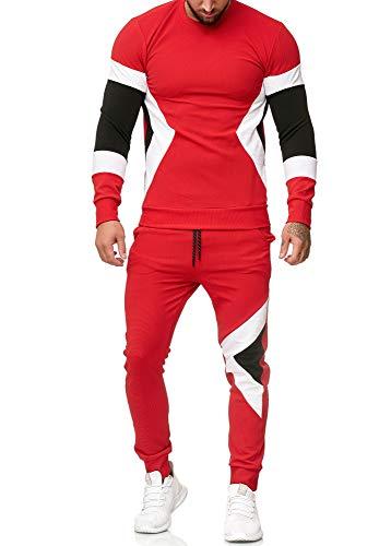 OneRedox | Herren Trainingsanzug | Jogginganzug | Sportanzug | Jogging Anzug | Hoodie-Sporthose | Jogging-Anzug | Trainings-Anzug | Jogging-Hose | Modell 1215 Rot XL