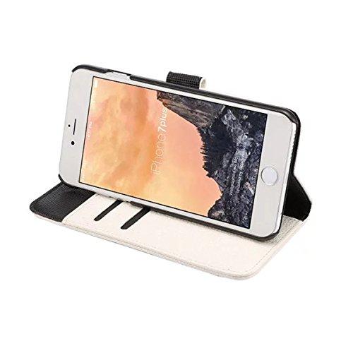 iPhone 7 Plus Coque, Apple iPhone 7 Plus Coque, Lifeturt [ Marron ] Motif Pure Couleur Housse en Cuir Case à Avec La Fonction Stand Coque de Intérieure Protection Souple Coque Portefeuille TPU Silicon E2-Blanc