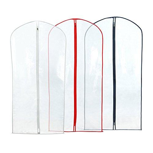 12 Anzug/Kleidersack/Kleidungsschutzhüllen Transparent - 100 cm - mit gemischtem Farb-Besatz 4 Einzelhandelspackungen mit 3 Hangerworld