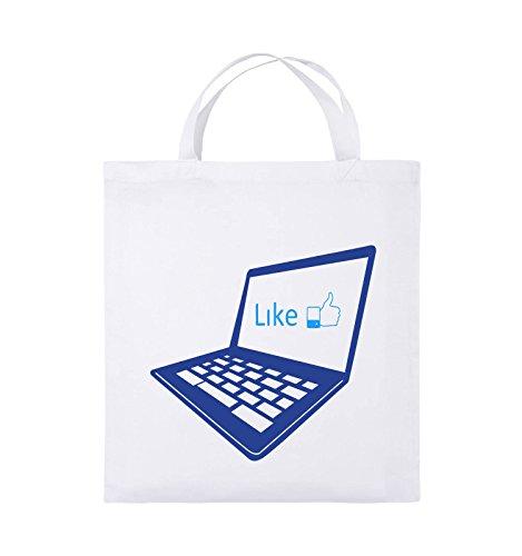 Comedy Bags - I like laptop - Jutebeutel - kurze Henkel - 38x42cm - Farbe: Schwarz / Weiss-Neongrün Weiss / Royalblau-Hellblau
