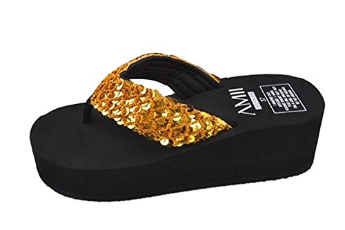Minetom Donna Flat Flip Flops Zeppa Piattaforma Sandali Slim Infradito e ciabatte da spiaggia EUROPE Taglia Oro