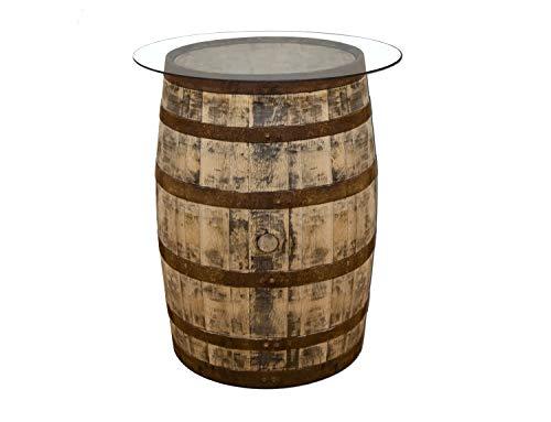 Temesso Originales schottisches Whiskyfass als Stehtisch mit Glasplatte, Eichenfass, Holzfass, Whisky Fass, Schnapsfass - angeschliffen - Höhe Circa 90 cm (Naturbelassen)