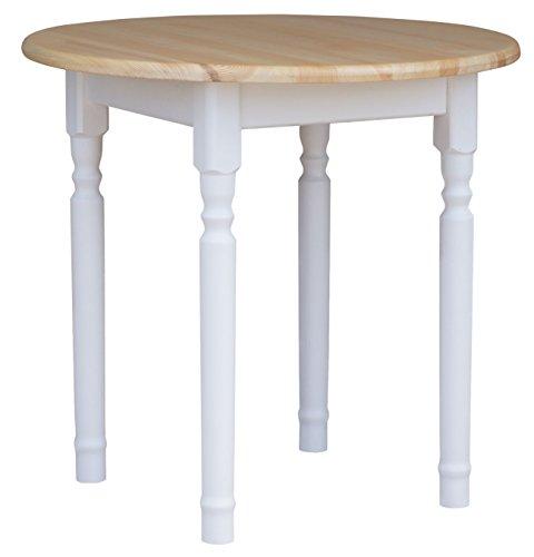koma Runder Kiefer Tisch Esstisch Holz Küchentisch massiv weiß Honig Landhausstil (Kiefer LACKIERT)