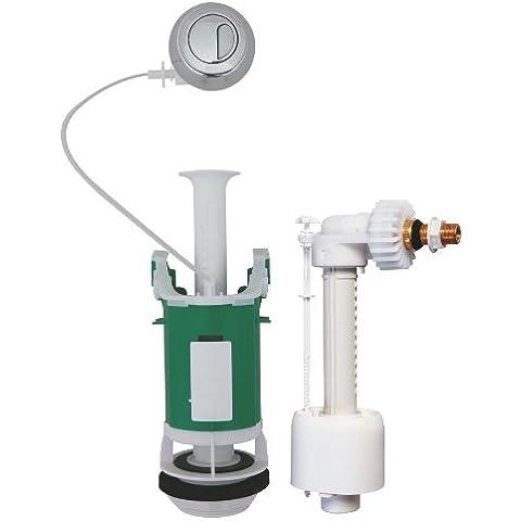 Regiplast 26500 - Batteria di scarico WC con doppio flusso, meccanismo a cavo, con rubinetto galleggiante UNI 0500, certificazione NF classe 1