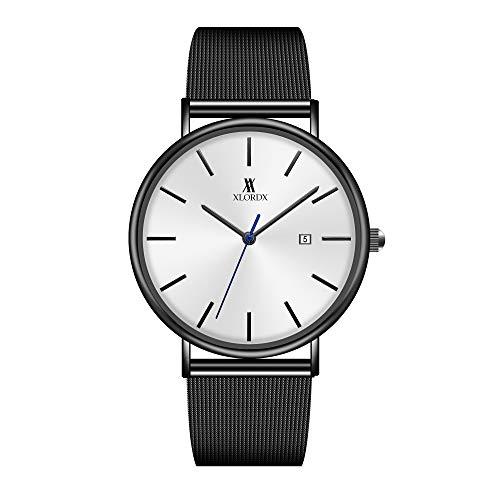 XLORDX Herren Mode Wasserdicht Ultra-Thin Schwarz Edelstahl Analog Quarzuhr Lässige Sport Armbanduhr -
