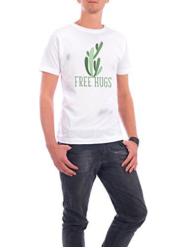 """Design T-Shirt Männer Continental Cotton """"Free hugs cactus"""" - stylisches Shirt Typografie Natur von WAM Weiß"""