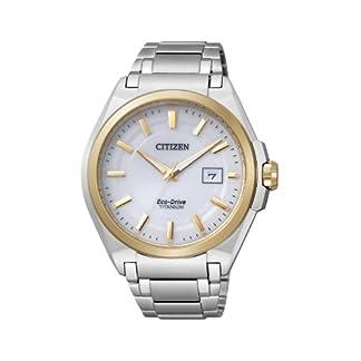 Citizen Super Titanium BM6935-53A – Reloj analógico de Cuarzo para Hombre, Correa de Titanio Color Plateado