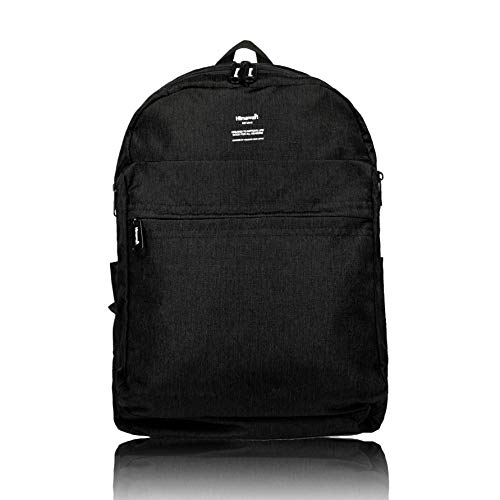 Himawari,Zaino Scuola per Superiore e università,Unisex,Zaino per PC Portatile 15.6 Pollici Impermeabile Casual retrò Viaggi Trekking Backpack Multi Funzioni Grande capacità (Black)