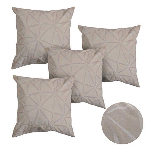 Deconovo set da 4 fodere per cuscino quadrato fatte a mano decorative per divano della casa moderna 40x40 cm cachi
